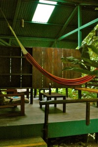 Osa Vida has a beautiful outdoor but undercover hammock and lounge area