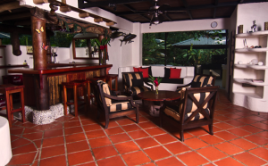 Living Room and Kitchen Area Tumbo de las Olas a beautiful rental home in Matapalo Costa Rica