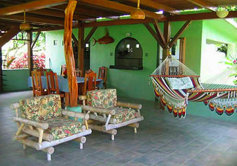 Casa Quinta Soñada has a beautiful patio in Matapalo, Osa Peninsula, Costa Rica