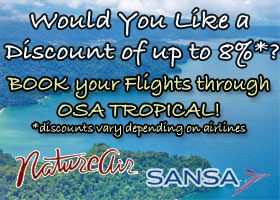 Osa Tropical offers nature air and sansa flight discounts